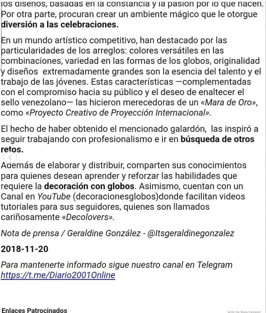 Jóvenes venezolanas crean propuestas innovadoras con decoraciones con globos - 1 Diario 2001 - https://www.instagram.com/p/Bqvynh7H36p/ Diario 2001 Noviembre 28, 2018